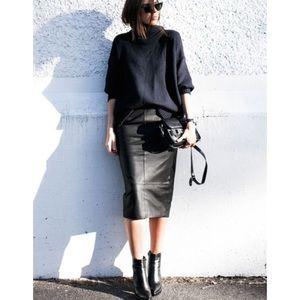 Vintage Tibor Black Midi Leather Skirt Size 12